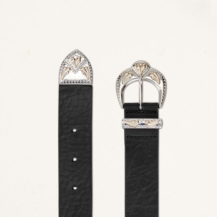 Ledergürtel mit Feston-Doppelschnalle : Gürtel farbe Schwarz