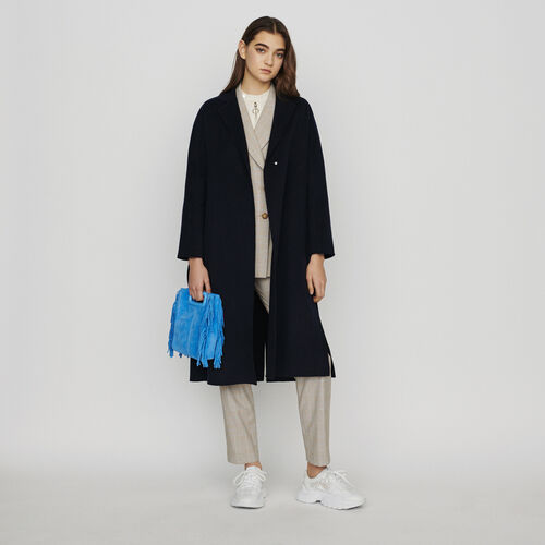 Langer wendbarer Wollmantel : Mäntel & Jacken farbe Marineblau