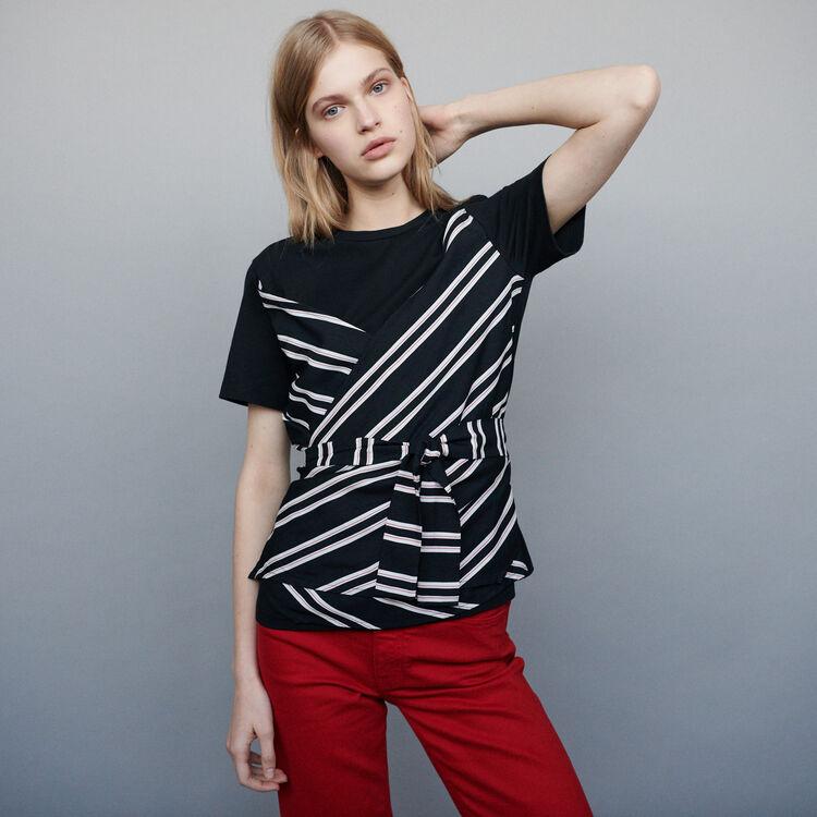 Top aus zwei Materialien : T-Shirts farbe Schwarz
