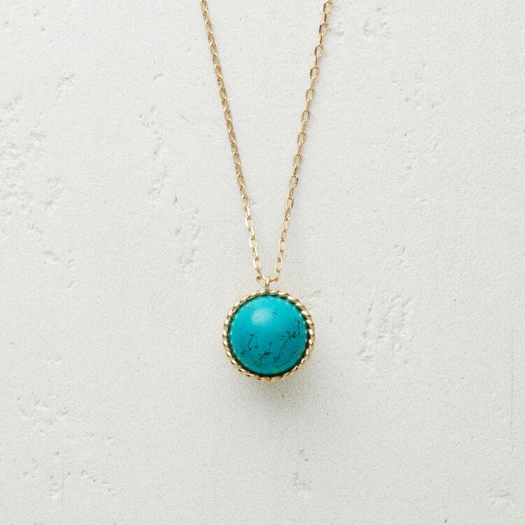Halskette mit Natursteinkugel : Schmuck farbe BLEU AZUR