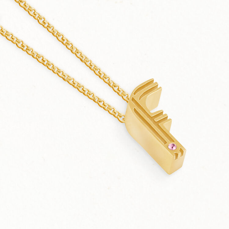Collier mit Initialen-Anhänger : Medaillons farbe OR