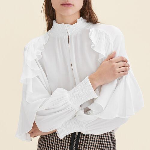 Fließende Bluse mit Rüschen : Tops farbe Ecru