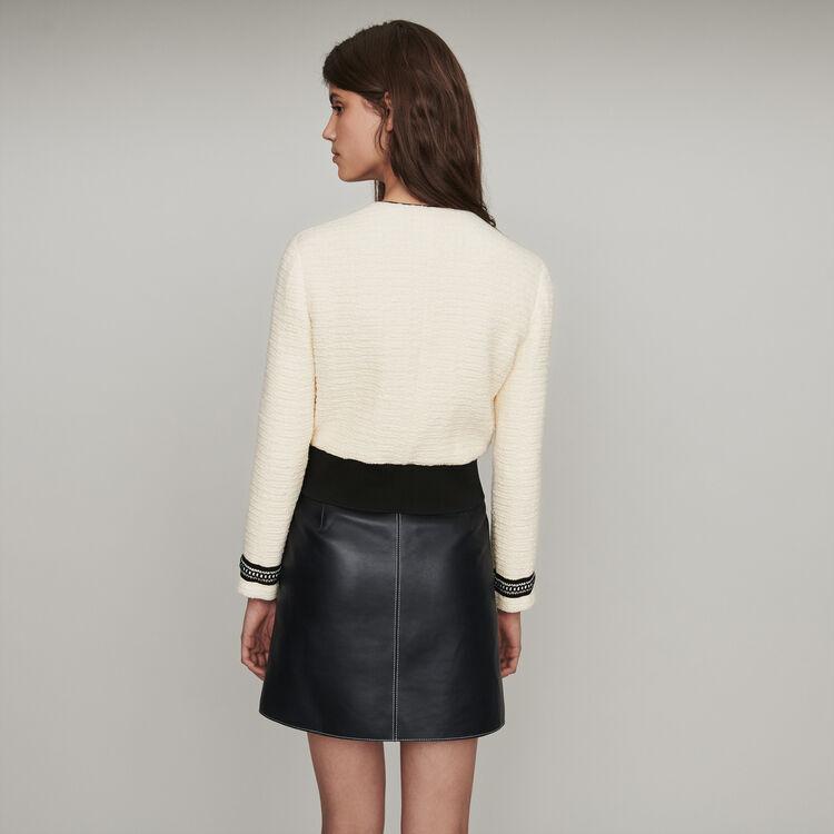 Tweed Jacke mit Reißverschluss : Mäntel & Jacken farbe Ecru