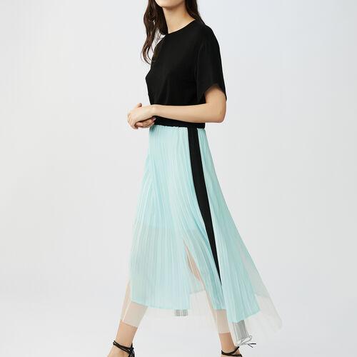 Zweifarbiges Plissee-Kleid : Kleider farbe Schwarz