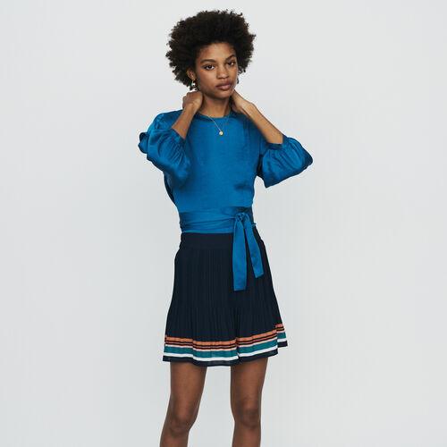 Plissee-Shorts mit Streifen : Röcke & Shorts farbe Marineblau