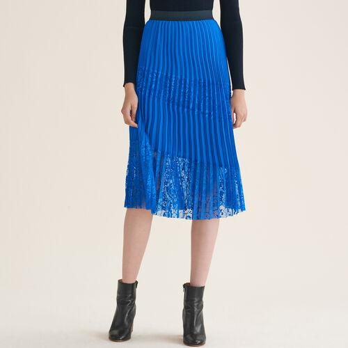 Plisseerock mit Spitze : Jupes & Shorts farbe Blau