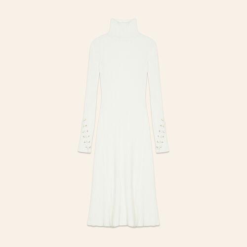 Langes Schlauchkleid aus Strick : Robes farbe Ecru