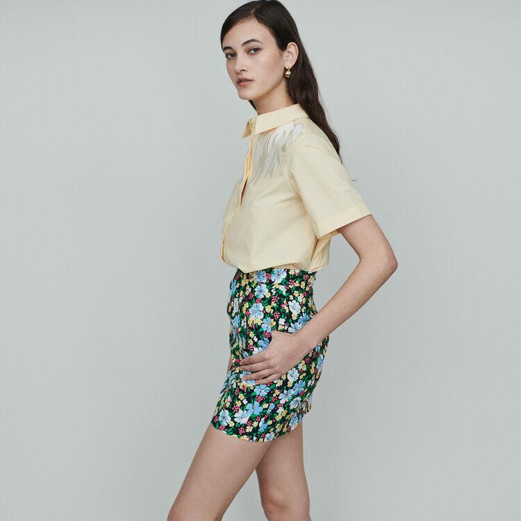 Kurzer Rock mit Blumen Print : Röcke & Shorts farbe IMPRIME