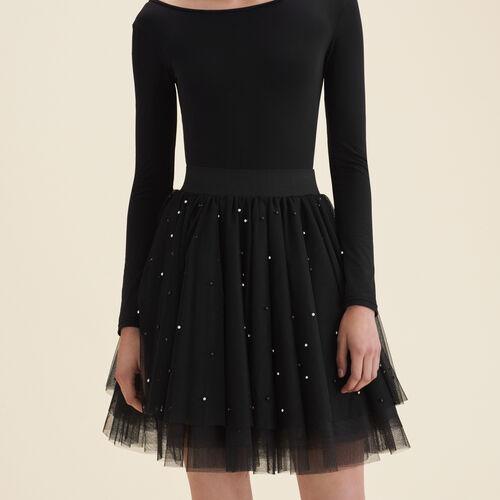 Kurzer Rock aus Tüll mit Perlen : Jupes & Shorts farbe Schwarz