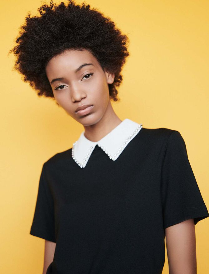 T-Shirt mit abnehmbarem Strass-Kragen - Midseason-Sales_UK_30% - MAJE