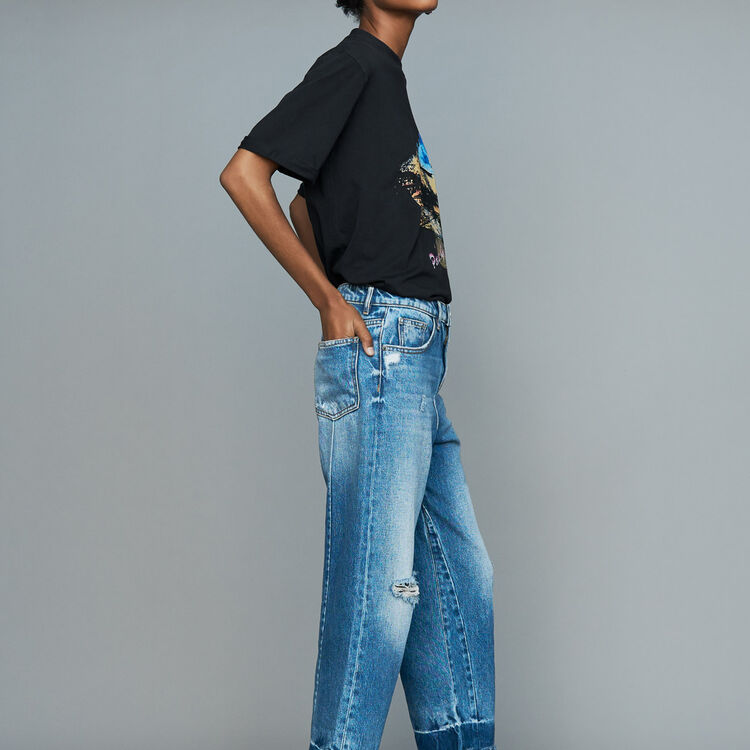 Breite Jeans mit Used-Details : Jeans farbe Blau