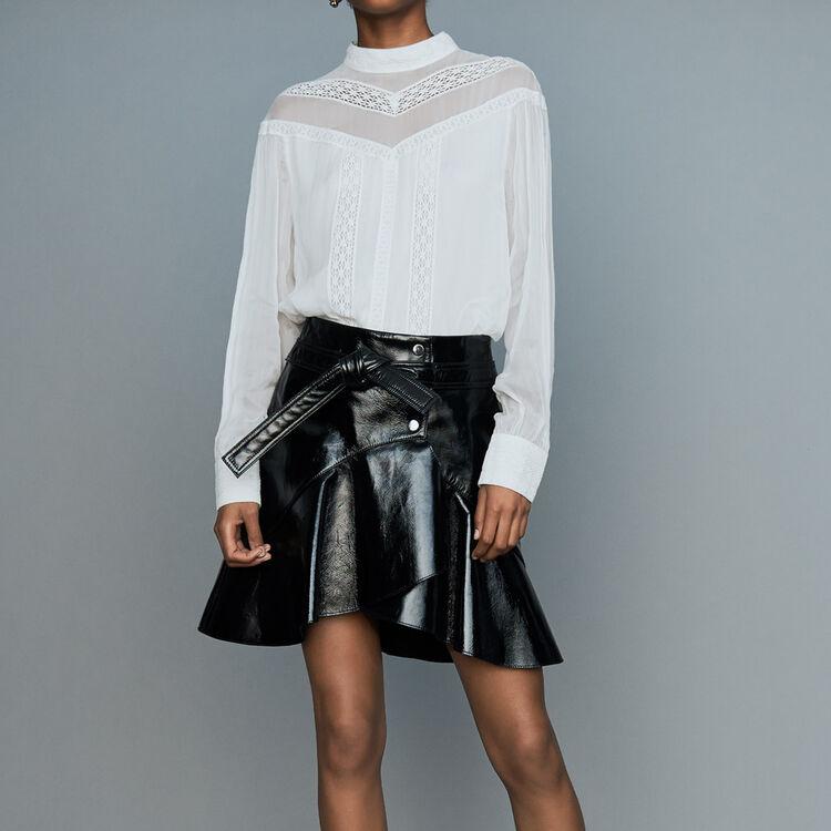 Asymmetrischer Rock aus Lackleder : Röcke & Shorts farbe Schwarz