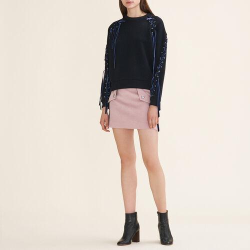 Sweatshirt aus Molton mit Schnürung : Pulls & Cardigans farbe Schwarz