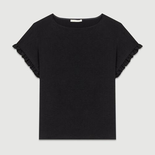 Lockeres T-Shirt mit gerafften Ärmeln : T-Shirts farbe Schwarz