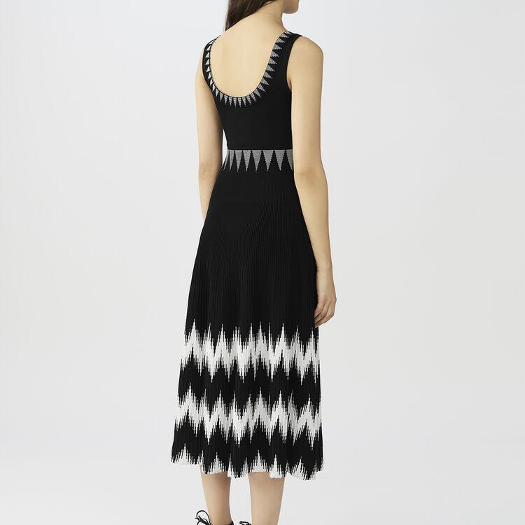 Langes schulterfreies Strickkleid : Kleider farbe Schwarz