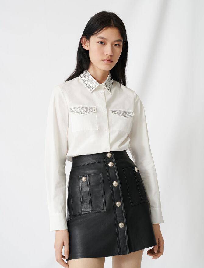 Hemd aus Popeline mit Nietenbesatz - Tops & Hemden - MAJE