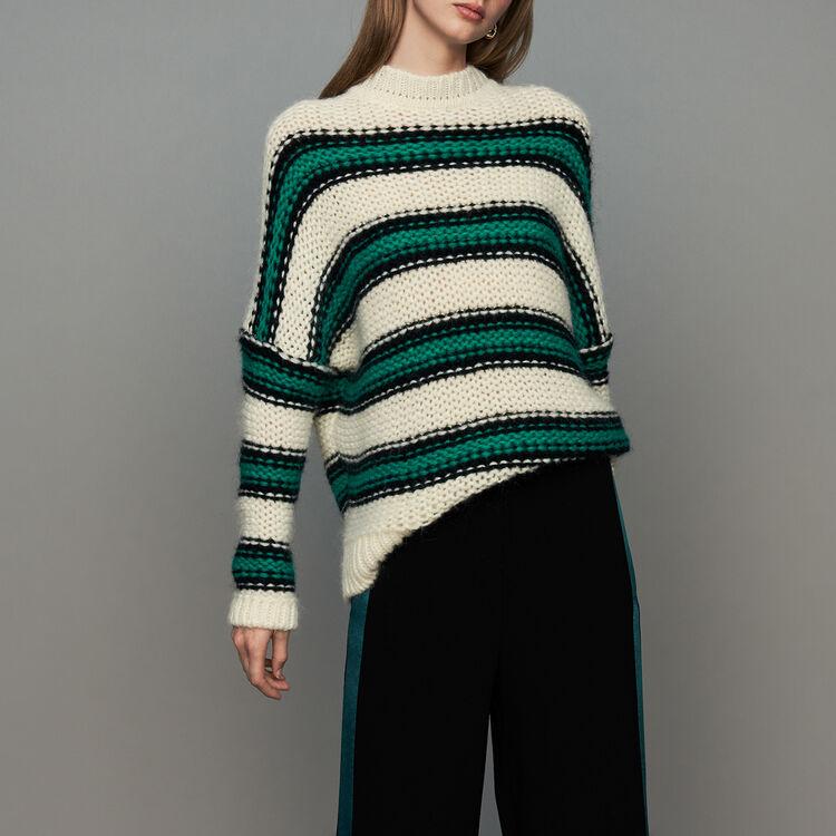 Dreifarbiger Oversize-Pullover : Bekleidung farbe Grün