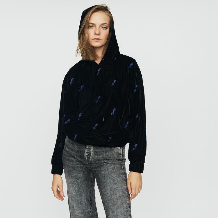 Sweatshirt mit Kapuze aus Velours : Sweatshirts farbe Schwarz