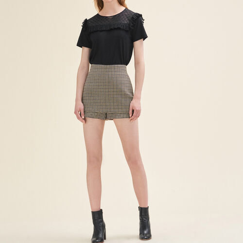 Kurze Shorts mit Karomotiv - Röcke & Shorts - MAJE