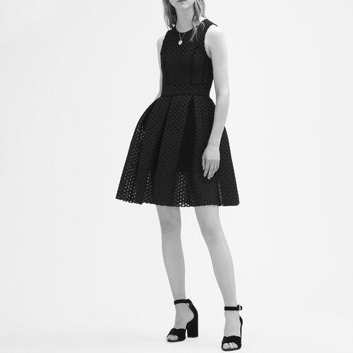 Ärmelloses Kleid aus technischem Strick : Robes farbe Schwarz