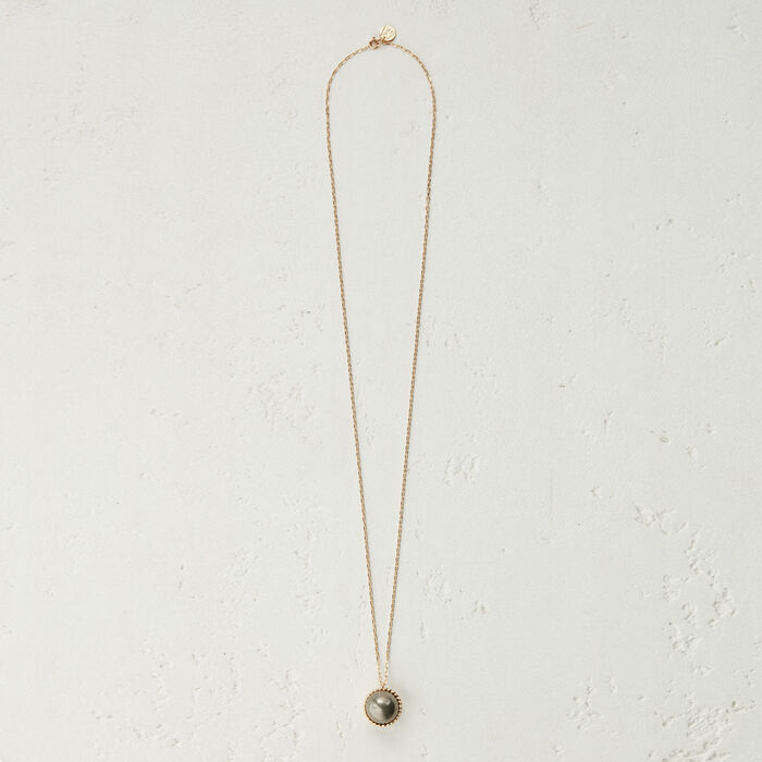 Halskette mit Natursteinkugel : Schmuck farbe Antik Silber