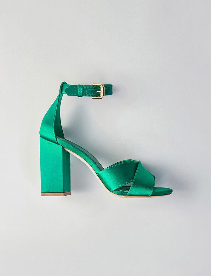 Absatz Satin Sandalen - Alle Schuhe - MAJE