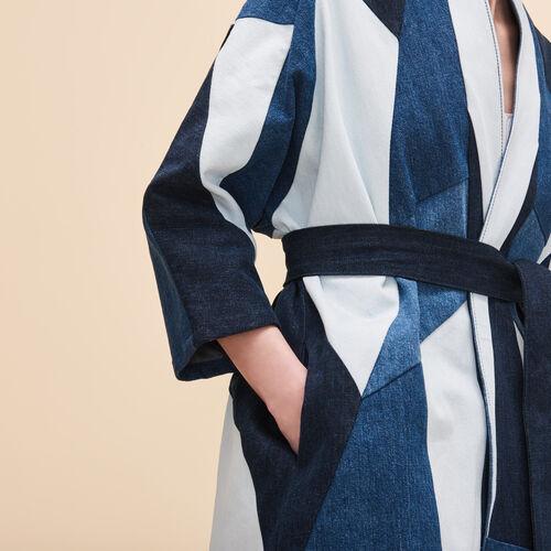Patchwork-Jacke aus Jeans - Denim - MAJE