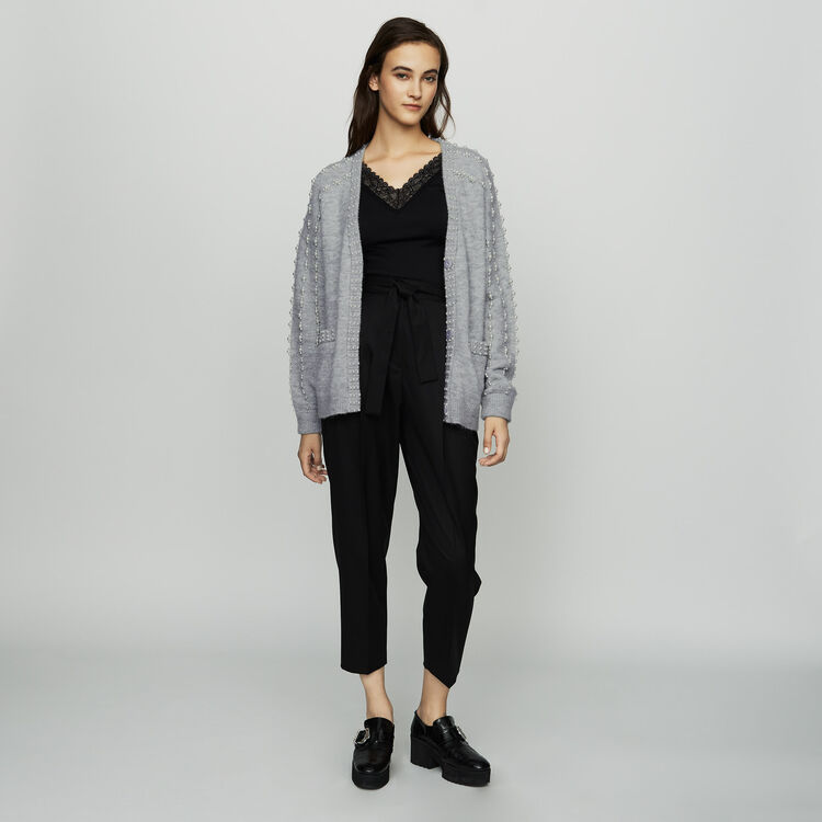 Langer Strick-Cardigan mit Perlen : Strickwaren farbe Grau
