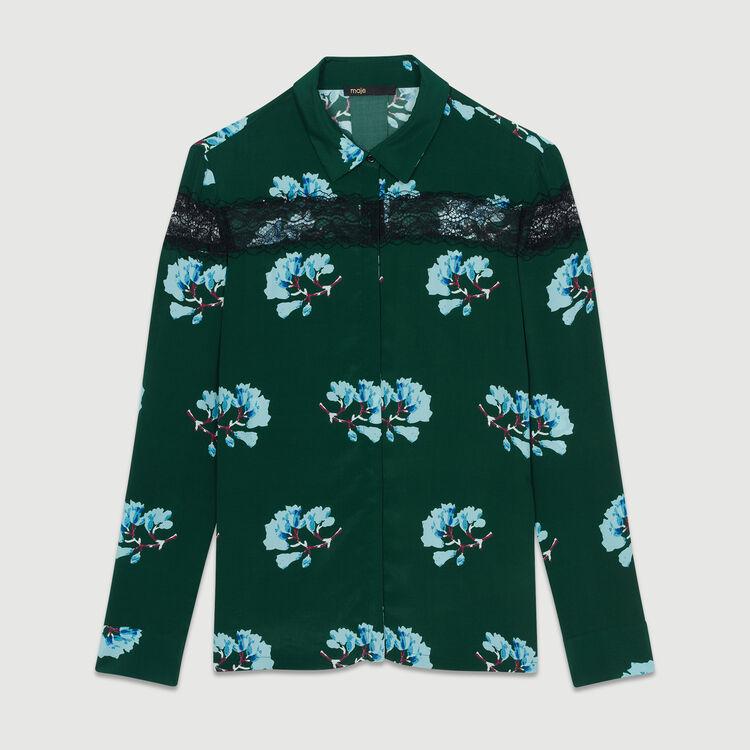 Bedruckte Bluse mit Spitze : Hemden farbe Print