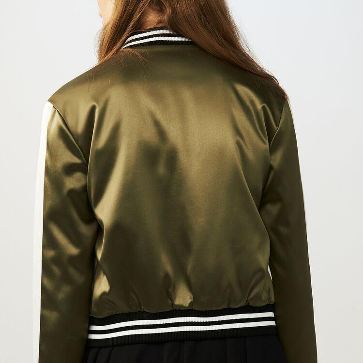 Bomberjacke Satineffekt mit Stickereien : Jacken farbe Khaki