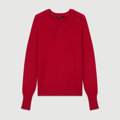 Oversize-Pullover aus Wolle und Kaschmir : Weinrot farbe Himbeerrot