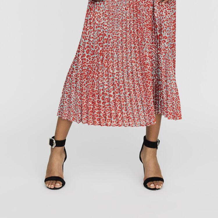 Langes Plissee-Kleid mit Print : Kleider farbe IMPRIME
