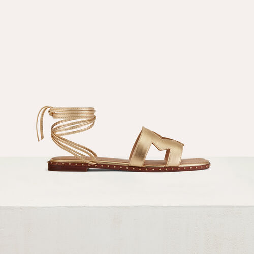 Flat leather sandals : Flache Schuhe farbe Gold