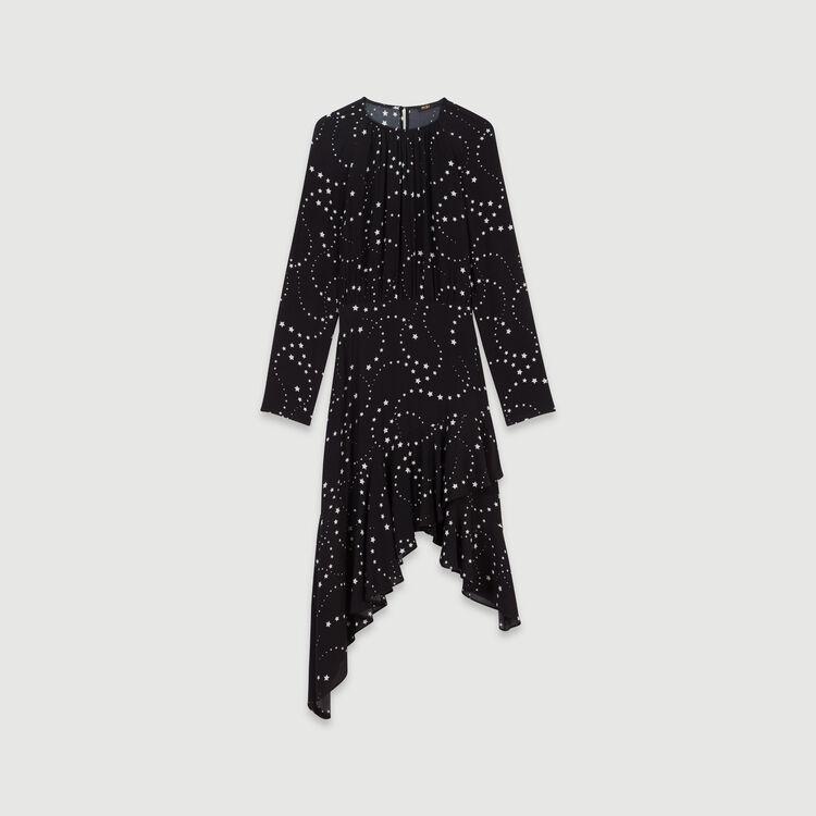 Asymmetrisches Krepp Kleid mit Print : Kleider farbe Schwarz