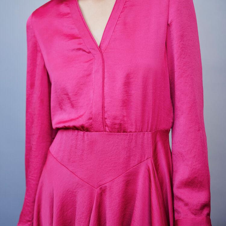 Asymmetrisches Satin Kleid : Kleider farbe Fuchsiafarben
