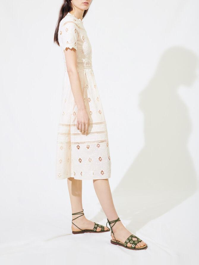 Langes Guipure-Kleid mit Borten - Kleider - MAJE