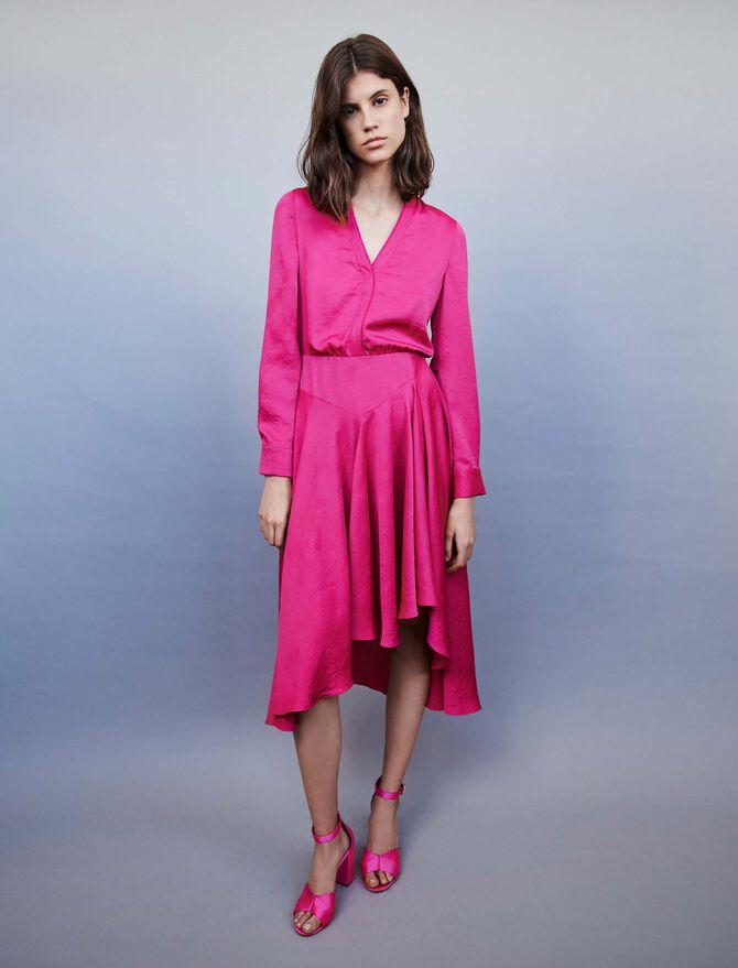 Asymmetrisches Satin Kleid - SoldesFR_Robes - MAJE