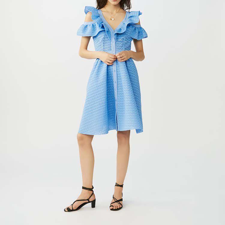 Ärmelloses Kleid aus Basket-Strick : Kleider farbe Blau