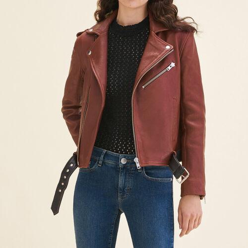 Blouson aus Leder mit Kontrast-Gürtel - Jacken - MAJE