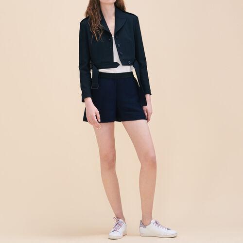 Kurze Shorts aus Ottoman-Gewebe : Röcke und Shorts farbe Marineblau