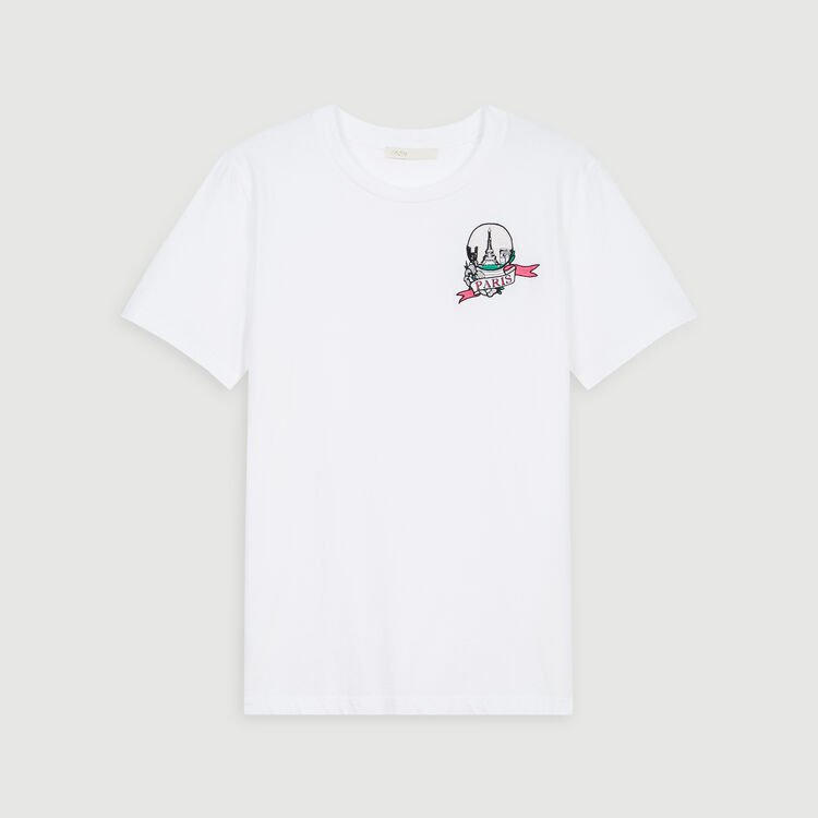 T-Shirt mit Stickerei : T-Shirts farbe Weiss