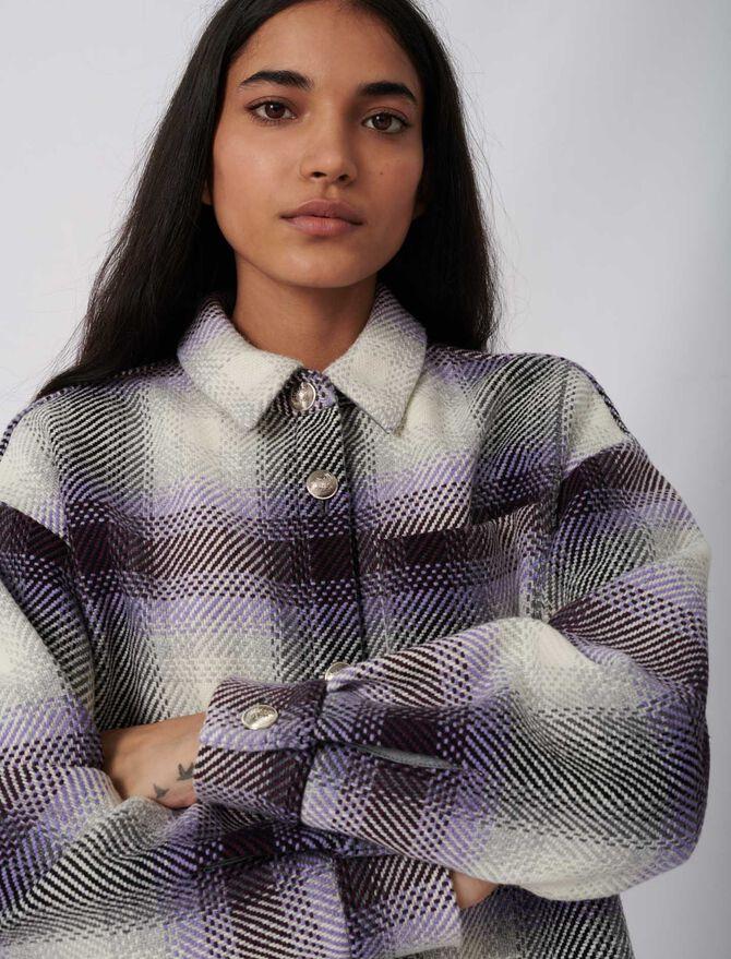 Karierter Blouson im Überhemd-Stil - Umweltfreundliche - MAJE