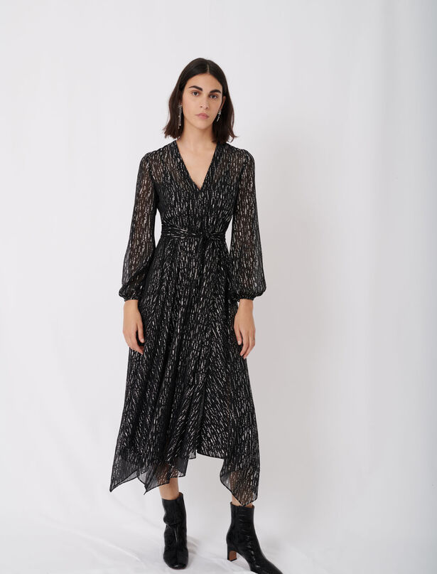마쥬 원피스 MAJE Foulard-Kleid aus Musselin mit Guertel,Noir/Argent