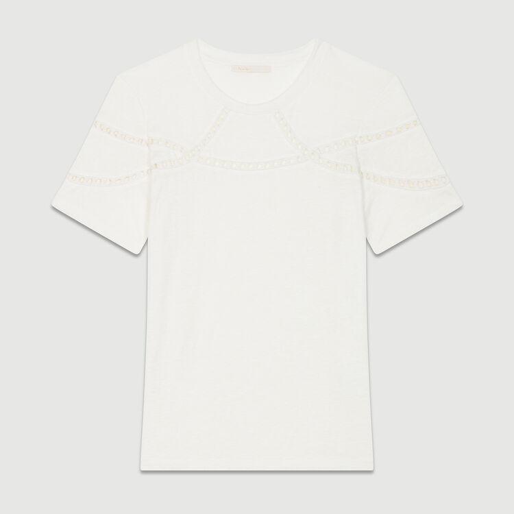 Leinen-T-Shirt mit Stickerei : T-Shirts farbe Ecru