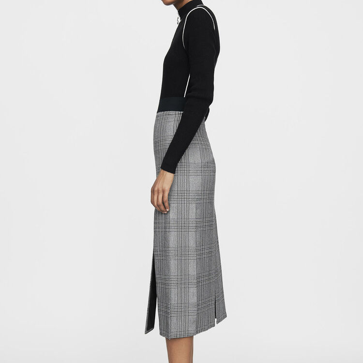 Langer Prince-of-Wales-Rock mit Cut-Outs : Office girl farbe CARREAUX