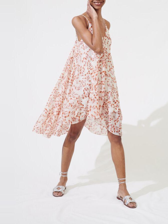Gemustertes Kleid mit schmalen Trägern - Kleider - MAJE