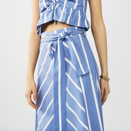Langer gestreifter Glockenrock : Röcke & Shorts farbe Blau