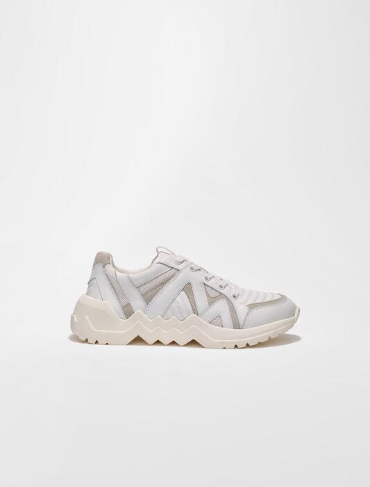 Sneakers aus Leder mit Profilsohle : Sneakers farbe Rose dragée