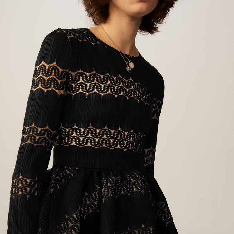Corolla-Kleid aus basket-strick : Kleider farbe SCHWARZ