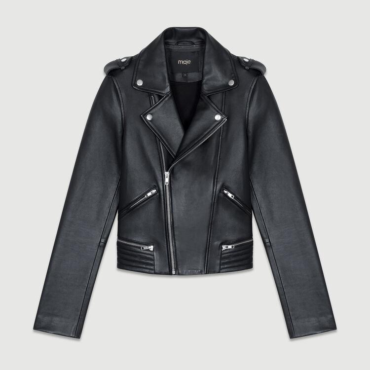 Motorrad-Lederjacke : Jacken farbe Schwarz